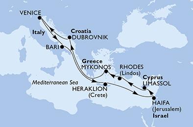 Krstarenje Italija, Grčka, Izrael, Cipar, Hrvatska - MSC Lirica - 13 dana